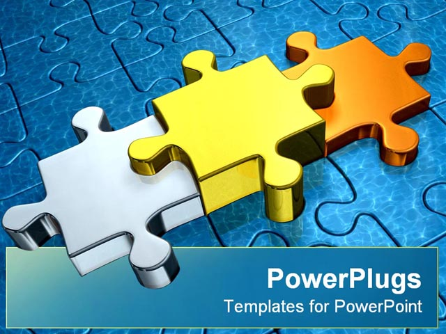 PowerPoint Template about blue, puzzle, business