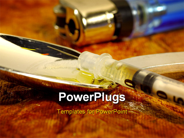 photo of a syringe, spoon and lighter. drug abuse concept. PowerPoint ...