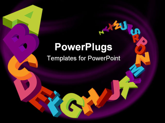 PowerPoint Template - colorful 3d alphabet letters vector background and sample text - Title Slide
