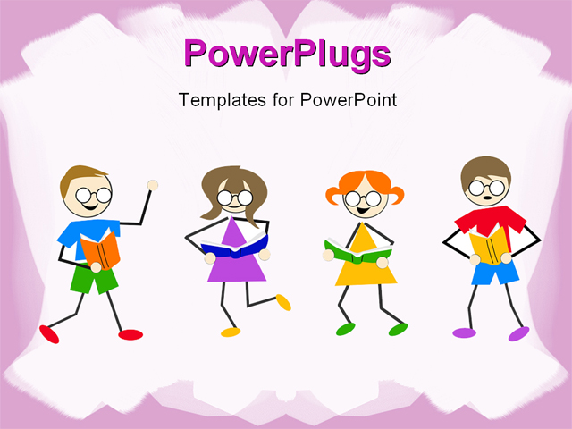 powerpoint template little kids dancing and reading book on white background with pink frames. Black Bedroom Furniture Sets. Home Design Ideas