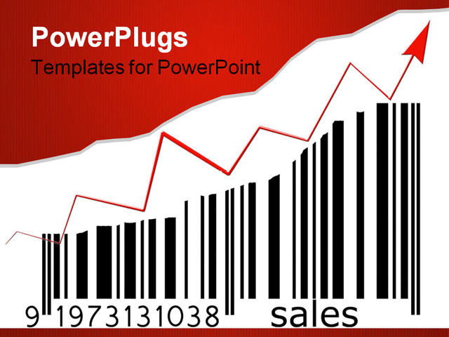 PowerPoint Template - barcode with and increasing bar size depicting increasing sales - Title Slide
