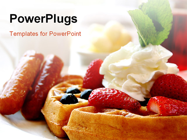 PowerPoint Template With Blueberry Waffles