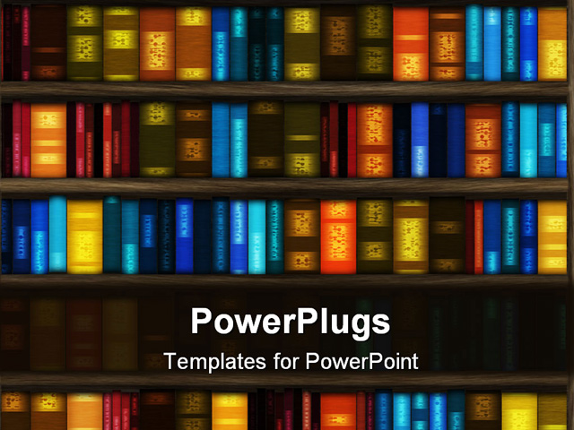 Free powerpoint graphics library book library ppt template book book case filled with colorful books and folders free powerpoint graphics library toneelgroepblik Image collections
