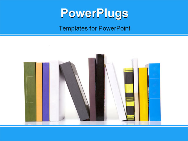 the many books on the white shelf powerpoint template background of