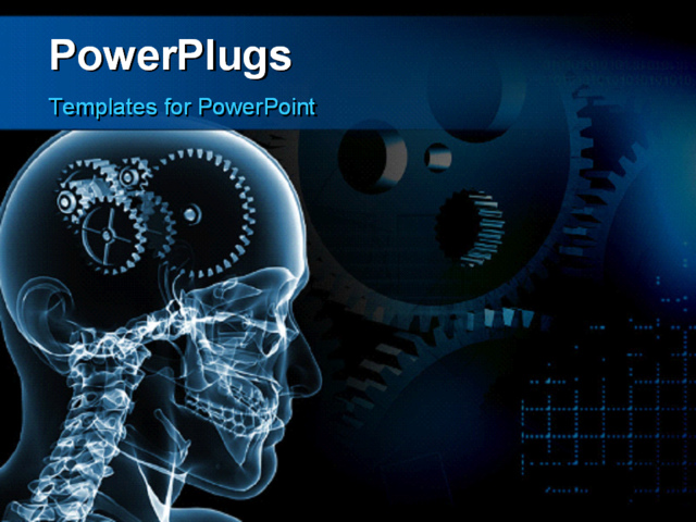 powerpoint template skull with a number of gears 3991