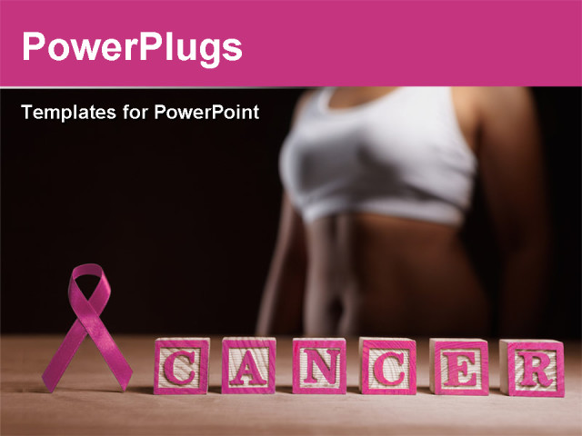 Powerpoint template a pink ribbon and lots of alphabet for Breast cancer powerpoint presentation templates