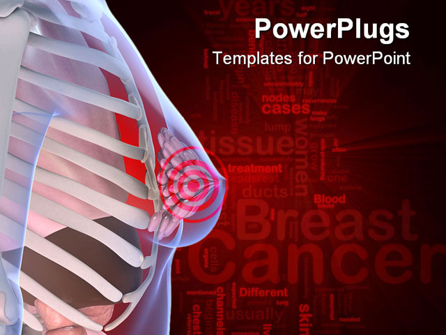 Powerpoint template anatomy of the female breast with a for Breast cancer powerpoint presentation templates