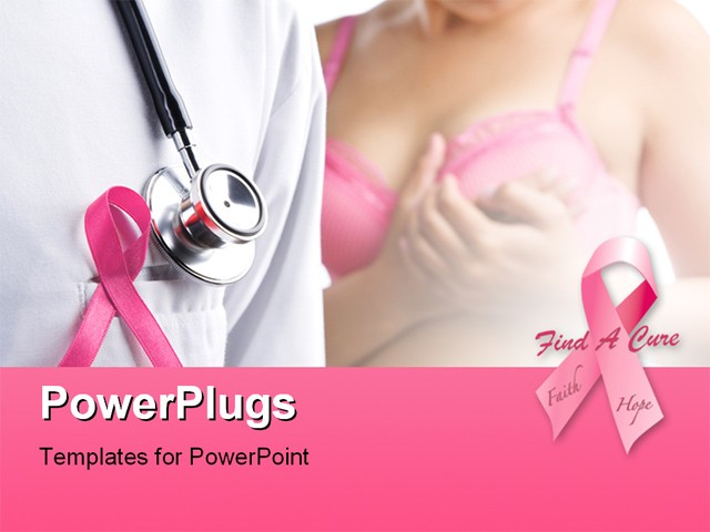 Doctor with pink badge and woman in pink bra on background for Breast cancer powerpoint presentation templates