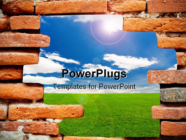 PowerPoint Template about old brick wall, blue sky, air