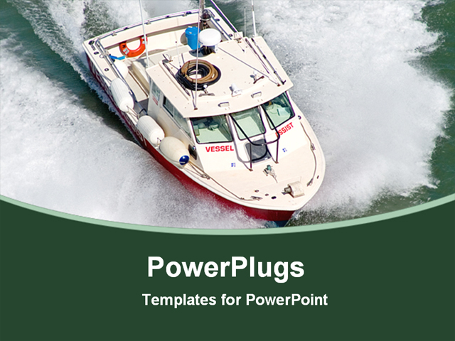 powerpoint template displaying a speed boat in the sea