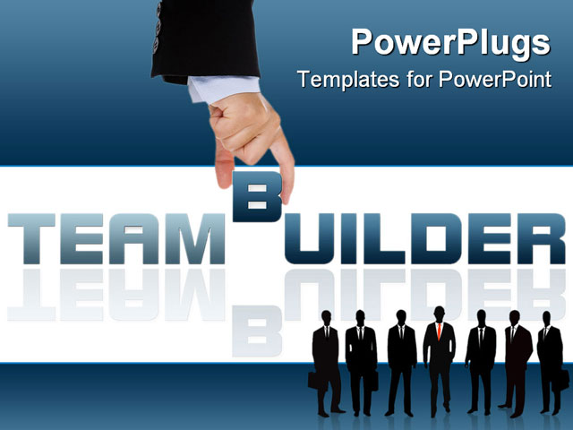 Businesswoman building teambuild word with letter blocks for Team building powerpoint presentation templates