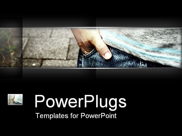 PowerPoint Template Displaying Close Up of Man with Hand in Pocket