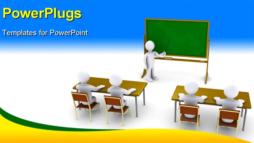 powerpoint template 3d characters of a teacher teaching