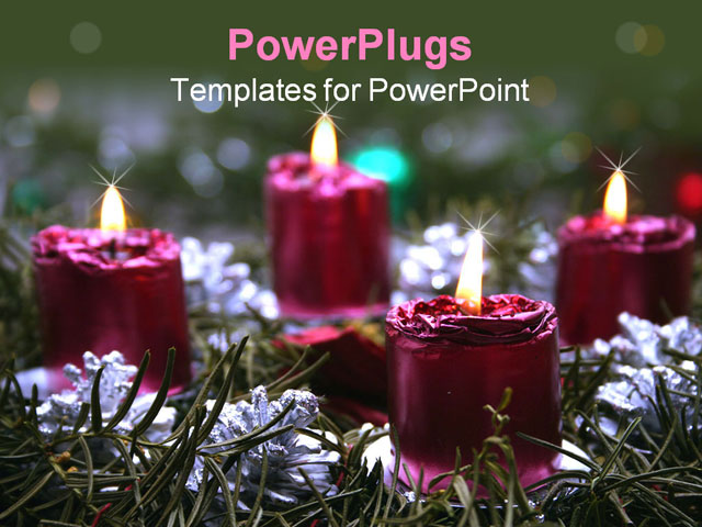 PowerPoint Template about advent, candles, christmas