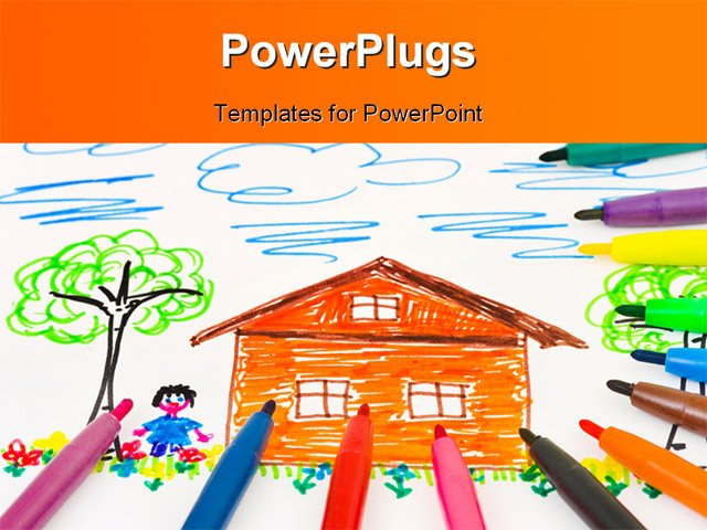 Template Ppt Background Children Drawings Powerpoint Templates