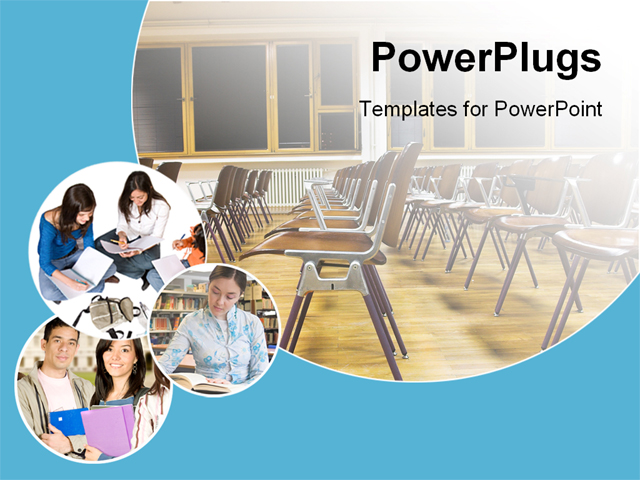 Classroom Design Powerpoint ~ Collage of students and classroom powerpoint template