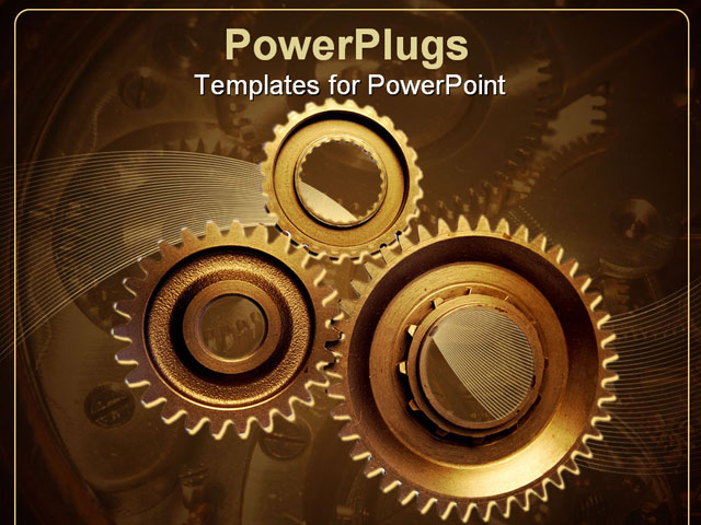 powerpoint template three gold colored interlocking gears on a brown background 7579. Black Bedroom Furniture Sets. Home Design Ideas