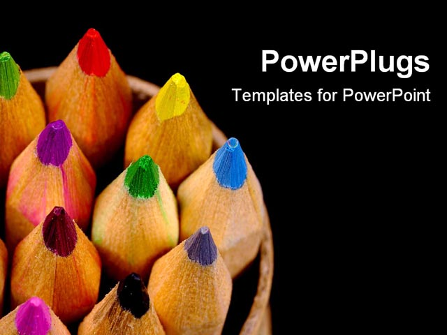 PPT Template - Arrangement of color pencils - Title Slide