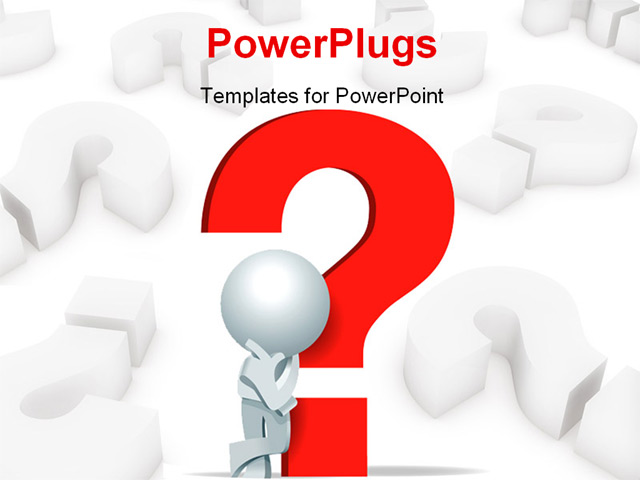 Powerpoint template 3d man leaning on red question mark for Powerpoint questions and answers template