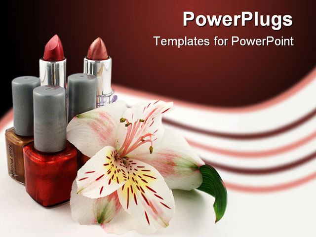 PowerPoint Template - tubes of lipstick, bottles of nail polish and a lily - Title Slide