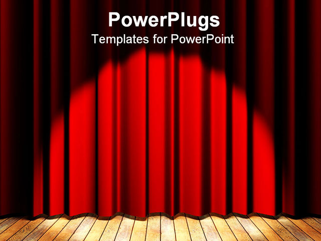 Wooden floor stage and a red curtain in the background PowerPoint ...