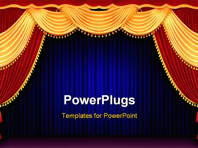 Best PowerPoint Template - The Red theater curtain background with ...
