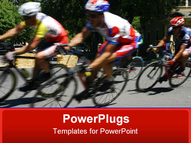 PowerPoint Template about cycling, racing, racers