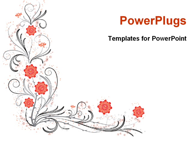 powerpoint template abstract floral pattern design with red flowers