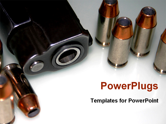 PowerPoint Template - the bullet and gun for security - Title Slide