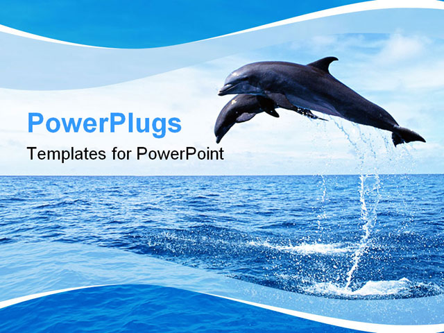 PowerPoint Template - two dolphins in the ocean jump out of water - Title Slide