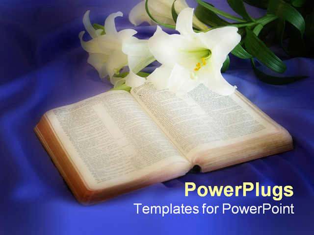 PowerPoint Template With Easter Lily and Bible