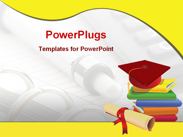 image of books and graduation cap PowerPoint Template ...