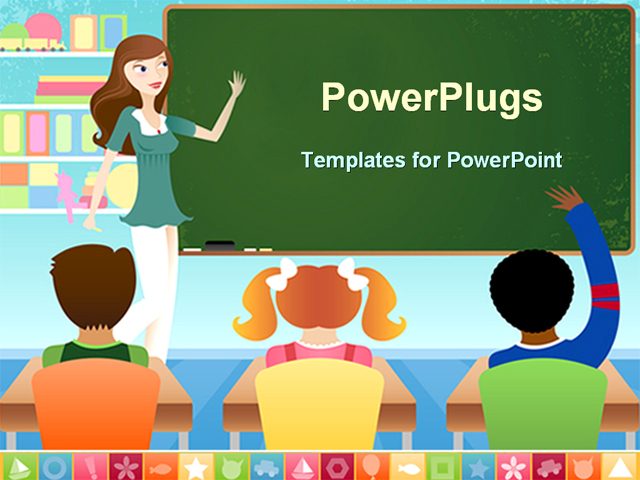 powerpoint template teacher and three pupils in classroom
