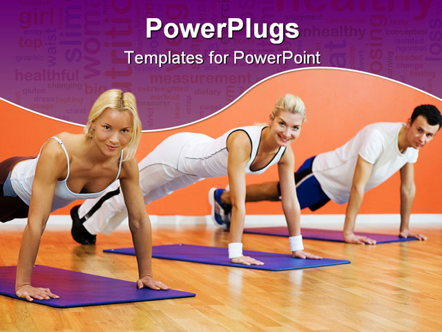 PowerPoint Template - Picture of a Group of people completing push ups - Title Slide