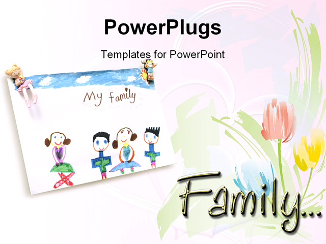 powerpoint template child drawing of loving family and