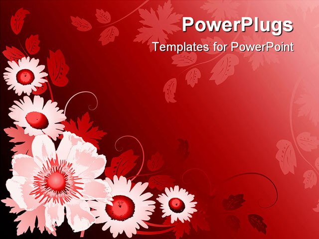powerpoint template floral pattern with white and red flowers in red