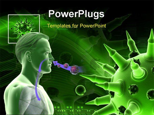 Virus powerpoint template virus and blood cell powerpoint templates digital illustration of flu virus in colour background virus powerpoint template toneelgroepblik Images