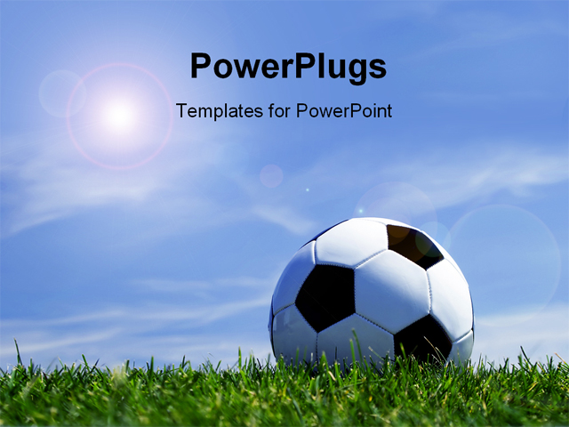 Best Football 120907 Powerpoint Template Soccer Ball Against Beautiful Blue Sky Background