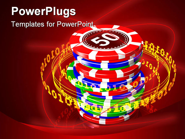 Powerpoint Template  A Collection Of Poker Chips Being