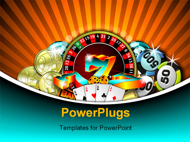 Powerpoint Template  Depiction Of Gambling With Chips
