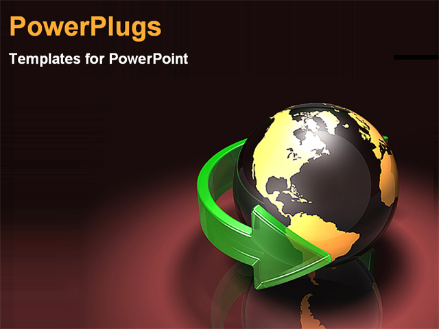 PowerPoint Template - green arrow around the world - Title Slide