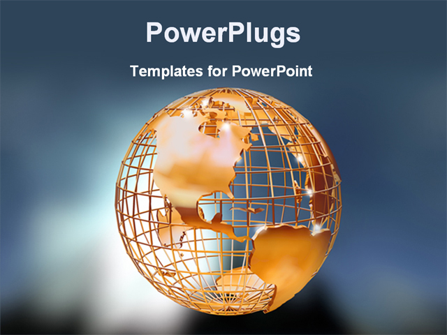 PowerPoint Template - image of a golden globe - Title Slide