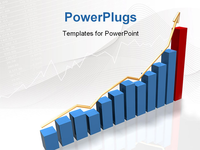 Powerpoint Template A Blue Bar Chart With An Ascending