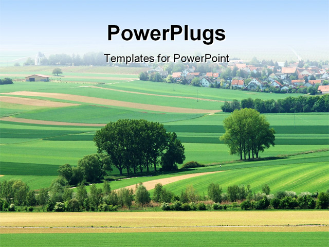 powerpoint template green landscape with flourishing