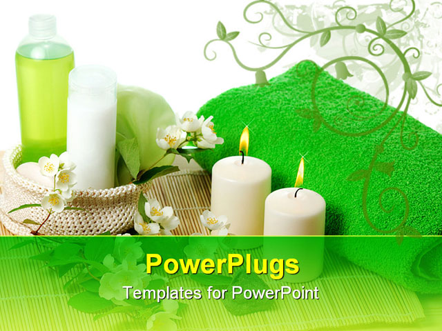 green products for spa with Jasmin flowers PowerPoint ...