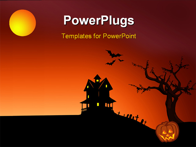 Powerpoint template halloween depictions with haunted house bats graveyard and pumpkin 15349 for Halloween powerpoint templates