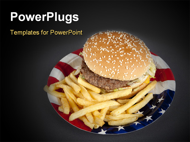 Powerpoint template a plate made of usa flag color with for American cuisine presentation