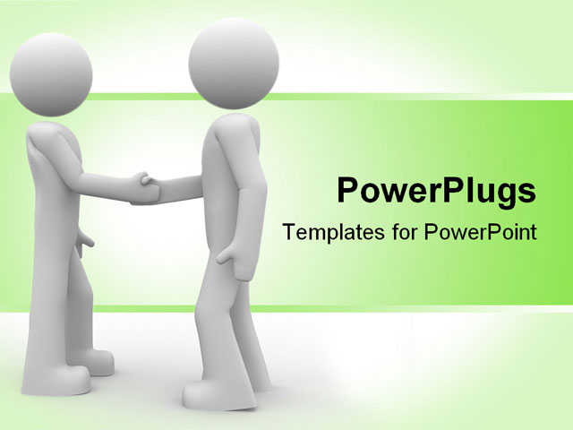 3d Rendered Illustration Of Two Little Characters Shaking Hands Powerpoint Template Background