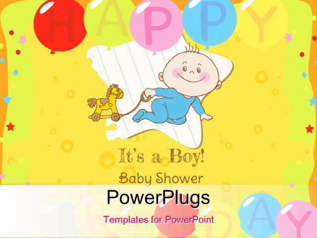 powerpoint template  baby boy shower and arrival card with