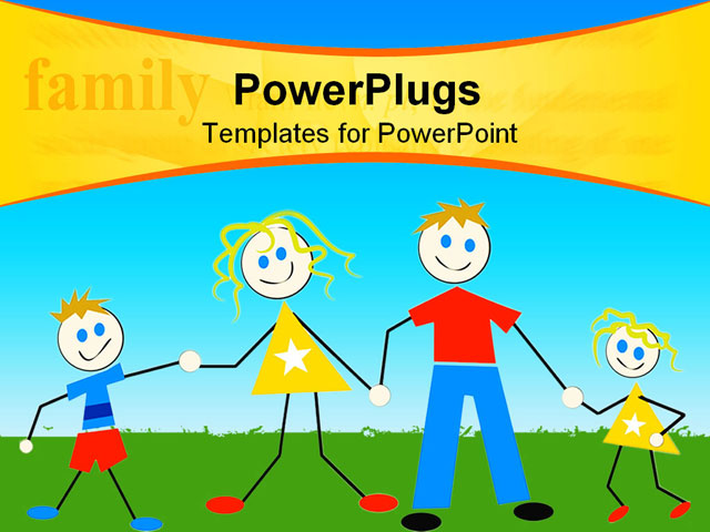 Cute Family Holding Hands PowerPoint Template Background Of Clipart Graphics Illustrations